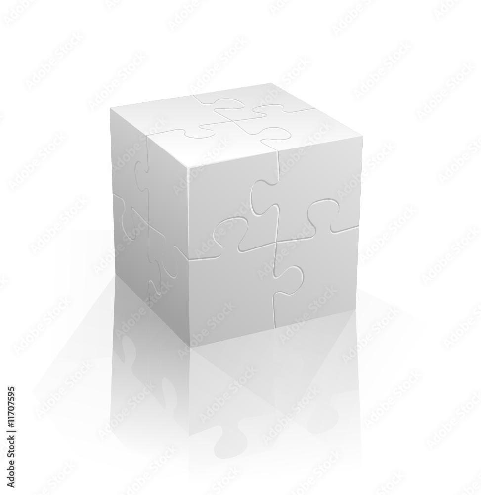 Fototapeta White puzzle cube