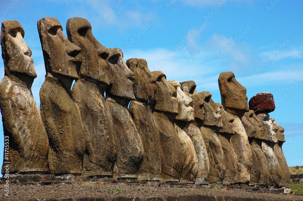 Foto-Fahne - 15 Moai at Ahu Tongariki (Easter Island, Chile)