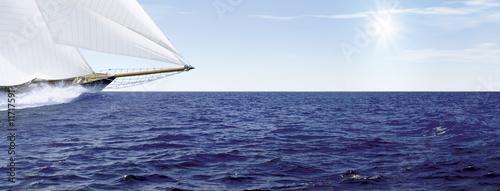 Tuinposter Zeilen Segelschiff_Sonne