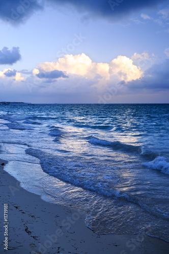 Foto op Aluminium Strand Ocean waves on beach at dusk