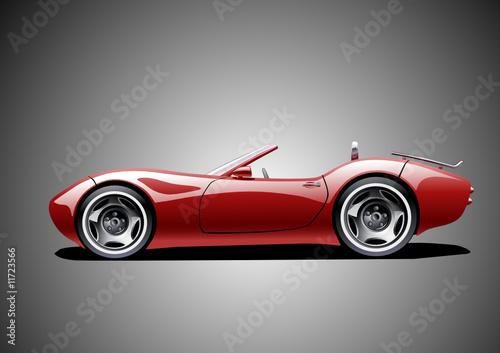 Rotes klassisches Cabrio (grauer Hintergrund)