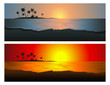 Leinwanddruck Bild Tropical sunset set