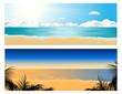 canvas print picture - Tropical beach set