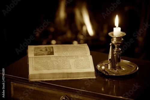 Canvas Print Sepia Fireside