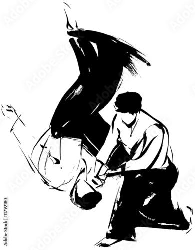 Aikido Wurf_Aikido litter_rzut aikido Wallpaper Mural