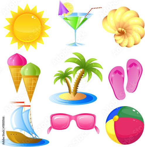 Fotobehang Draw Vacation and travel icon set