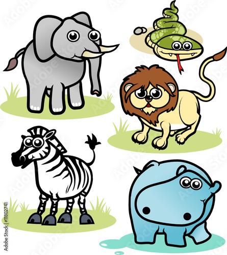 In de dag Boerderij cartoon tropical animals 1