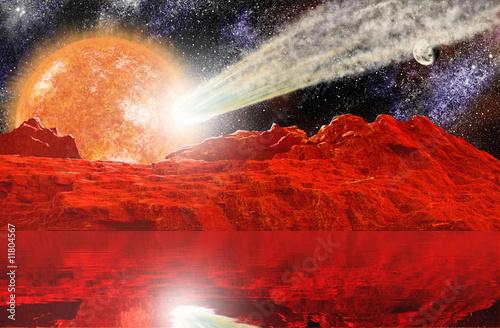 Foto op Aluminium Heelal Landscape with star and Meteorite transit