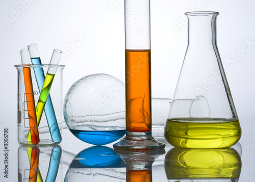 Fotografia  chemistry laboratory equipment, test tubes