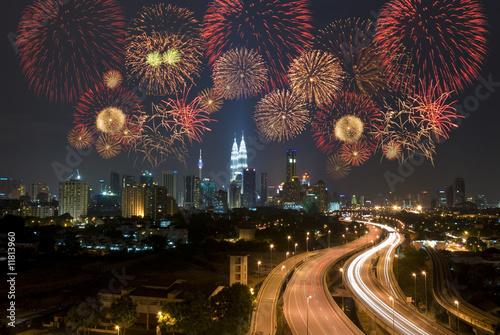 kuala lumpur  view with fireworks display