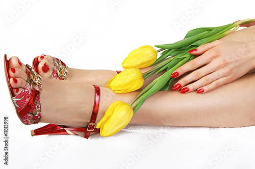 Fotografie, Obraz  Feet and hands of a young woman with red nails and yellow tulips