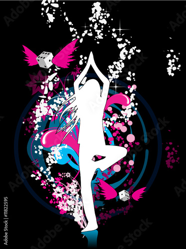Floral femme Girl in yoga pose - dreamy environment