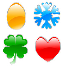 Glossy Holiday Icons Made Usin...