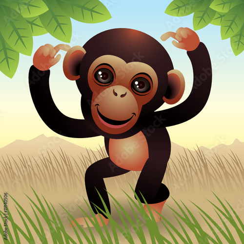 Deurstickers Zoo Baby Animal collection: Monkey. More animals in my gallery.