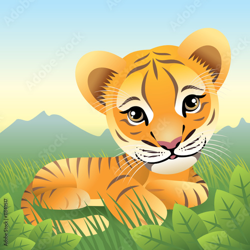 Deurstickers Zoo Baby Animal collection: Tiger. More animals in my gallery.