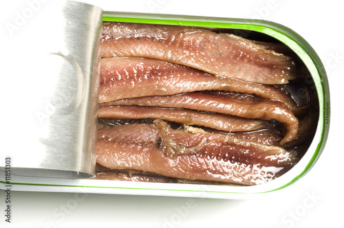 flat fillets of anchovies anchovy in olive  oil in can Wallpaper Mural