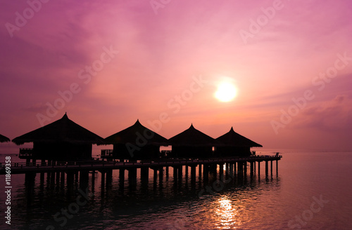 Photo Stands Candy pink Sunset and water bungalows