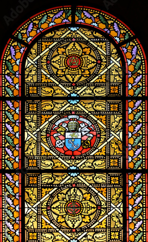 Deurstickers Stained Stained glass window (Brittany, France)
