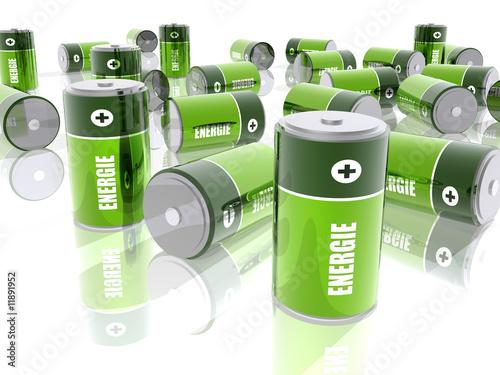 Fotografía  Piles électriques - Energie - Fond Blanc
