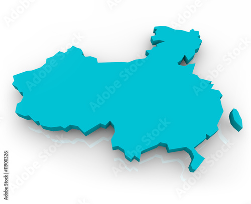 Türaufkleber Weltkarte China Map - Blue