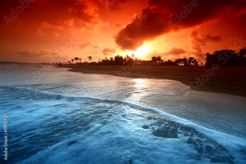 Wall Murals Blue ocean sunrise