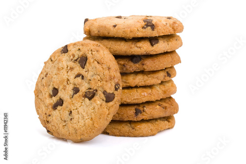 Fotobehang Koekjes Pile of chocolate chip cookies isolated on white background