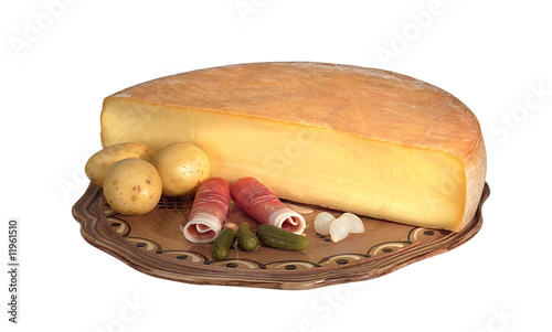 demi meule de fromage à raclette Tablou Canvas