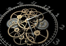 3d Clock With Cogs On Dark Bac...