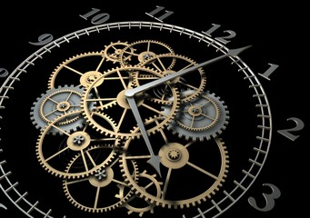 3d Clock with Cogs on Dark Background