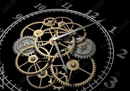 Photo  3d Clock with Cogs on Dark Background