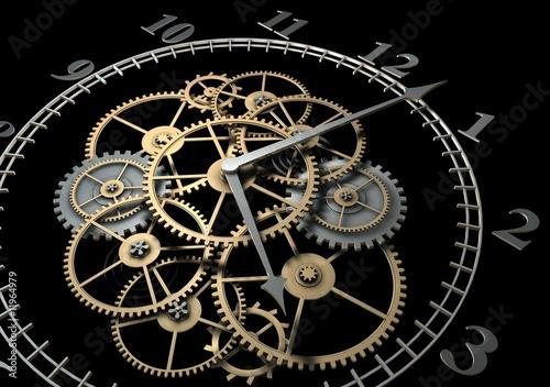 Obraz 3d Clock with Cogs on Dark Background - fototapety do salonu