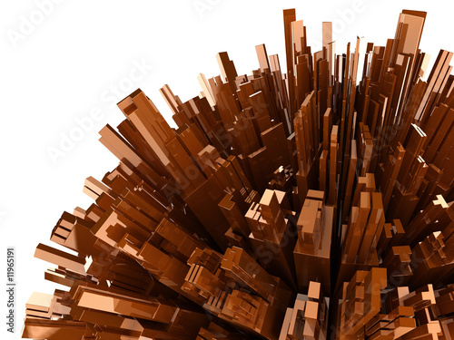 abstract background with plastic blocks, isolated on white