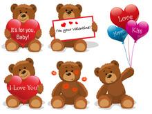 Valentine Bears Set Vector