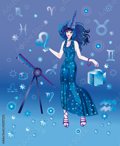 Photo Girl-astrologer with sign of zodiac of Leo character