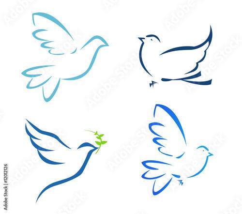 Vector illustration of flying dove Wall mural