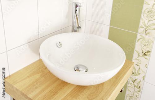 Fotografía  Waschtisch mit Waschbecken und Armatur