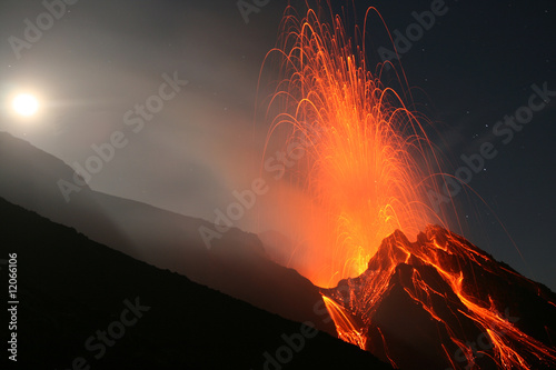 Poster Volcano Night eruption on top of Volcano Stromboli