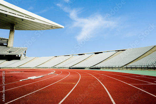 Poster Stadion Running tracks and empty seats in a stadium