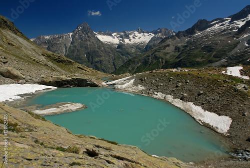 Foto op Plexiglas Blauw Lac des Bêches, Oisans