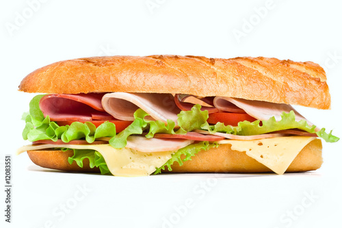 Half of healthy long baguette sandwich