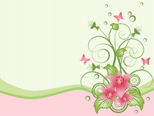 Spring Background With Lilium & Butterflies Set #1