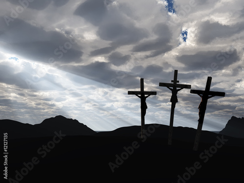 Canvas Print crucifixion and drame sky