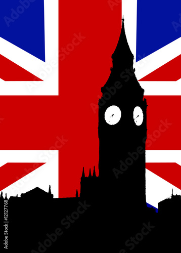 Poster Doodle Big Ben And United Kingdom Flag