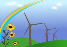 Windrad Mit Sonnenblumen Und Regenbogen