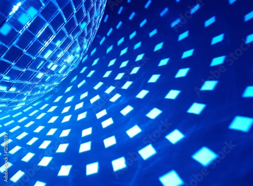 Poster Psychedelique Disco ball with blue illumination
