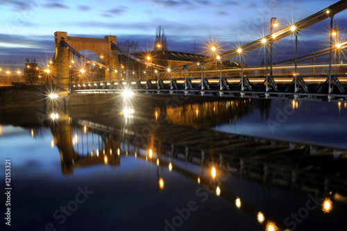 A cityscape scene the Grunwadzki Bridge located in Poland.