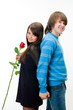 Young couple with rose