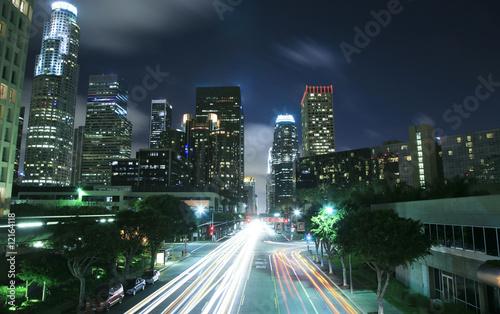 Staande foto Los Angeles Los Angeles cityscape at night