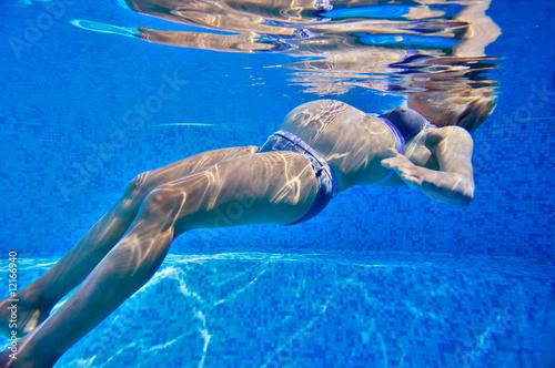 Canvas Print Femme enceinte dans une piscine.