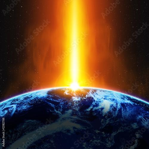 地球と紅の光線